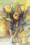 Yellow tulips with candle watercolor. Yellow tulips bouquet with candle on yellow background hand made watercolor Royalty Free Stock Photography