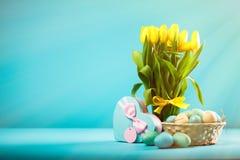 Yellow tulips on blue background Stock Photo