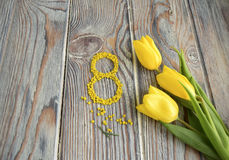 Yellow tulips and the figure eight Stock Image