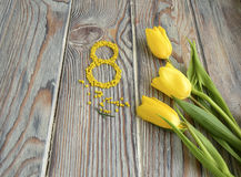 Yellow tulips and the figure eight Royalty Free Stock Photos