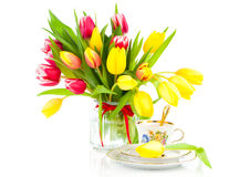 Yellow tulips flowers with cup tea Royalty Free Stock Photography