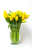 Yellow tulips on a glas vase isolated Royalty Free Stock Photos