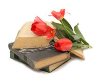 Yellow tulips, glasses, pen and open book Royalty Free Stock Images