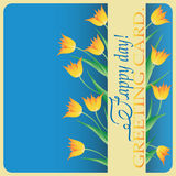 Yellow tulips. Greeting. Royalty Free Stock Images