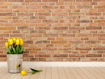 Yellow tulips in the interior Stock Photo
