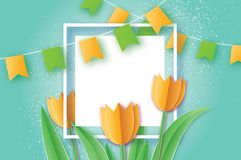 Yellow Tulips. Paper cut flower. 8 March. Women`s Day. Square frame. Yellow Tulips paper cut flower. 8 March Women`s Day Greeting card. Origami Floral bouquet stock illustration