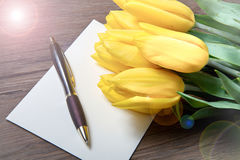 Yellow tulips and postcard Stock Images