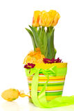 Yellow tulips in a pot Stock Image