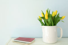 Yellow tulips with room for text Stock Photo