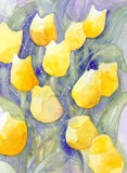 Yellow tulips soft dots abstract watercolor painting Stock Image