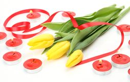 Yellow tulips and tape Royalty Free Stock Images