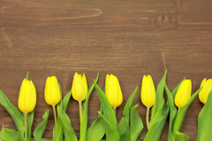 Yellow tulips. On wooden background Royalty Free Stock Photo