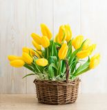 Yellow tulips in a wooden basket. Spring bouquet stock photography
