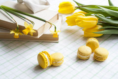 Yellow tulips, yellow daffodils, old books and lemon macaroons on a light background Royalty Free Stock Photography