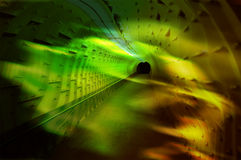 Yellow Tunnel Leading to Black Hole Stock Photo