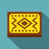 Yellow Turkish carpet icon, flat style. Yellow Turkish carpet icon. Flat illustration of yellow Turkish carpet vector icon for web isolated on baby blue Stock Photos