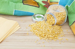 Yellow turkish lentil in a glass jar Royalty Free Stock Photo