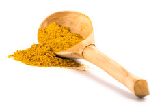 Yellow turmeric on wooden spoon Royalty Free Stock Photos