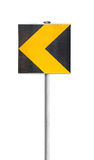 Yellow turn road sign isolated on white Stock Photos