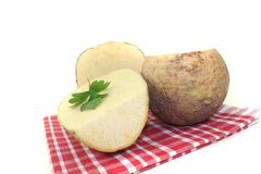 Yellow Turnip on a napkin Stock Images