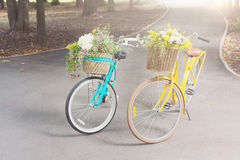 Yellow and turqoise city woman bicycles with flowers in park Royalty Free Stock Photos