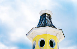 Yellow turret with blue sky Stock Photo