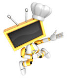 Yellow TV character are kindly guidance. Create 3D Television Ro Royalty Free Stock Images