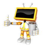 Yellow TV Chef mascot the right hand guides and the left hand is Stock Photo