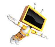 Yellow TV robot flying towards the sky. Create 3D Television Rob Royalty Free Stock Images