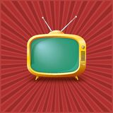 Yellow TV on a vintage background. Royalty Free Stock Photo