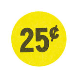 Yellow twenty five cent garage sale sticker. A bright yellow generic twenty five cent garage sale sticker isolated on a white background Stock Images