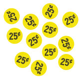 Yellow twenty five cent garage sale stickers Royalty Free Stock Images