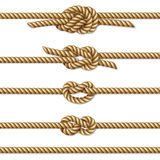 Yellow twisted rope border set, isolated on white Stock Photography