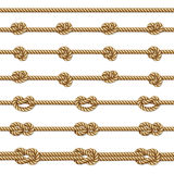 Yellow twisted rope border set,  on white Royalty Free Stock Photo