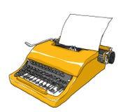 Yellow Typewriter vintage art painting  illustration Royalty Free Stock Photos