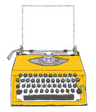 Yellow Typewriter vintage with paper. Painting Royalty Free Stock Photos
