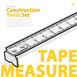 Yellow typography set of construction tools on white. Wire measure tape. Royalty Free Stock Images
