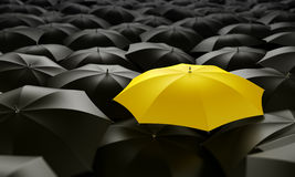 Yellow umbrella. 3d rendering of a sea of umbrellas Royalty Free Stock Photography