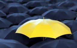 Yellow umbrella among dark ones Stock Photography