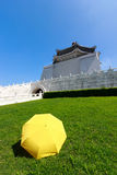 Yellow umbrella on green grass with blue sky Stock Photos