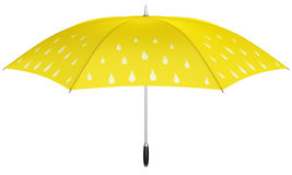 Yellow umbrella with rain drops Royalty Free Stock Images