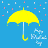 Yellow umbrella.  Rain in shape of hearts. Happy V Royalty Free Stock Images