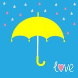 Yellow umbrella.  Rain in shape of hearts. Love card. Stock Image