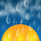 Yellow umbrella and raindrops Royalty Free Stock Photo