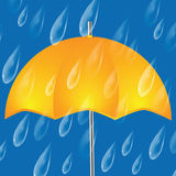 Yellow umbrella and raindrops Stock Photography