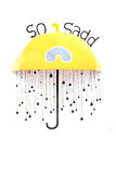 Yellow umbrella with so sad signs on the wall Stock Photography