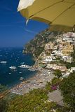 Yellow umbrella with sea view of Amalfi, a town in the province of Salerno, in the region of Campania, Italy, on the Gulf of Saler Royalty Free Stock Photography