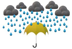 A yellow umbrella shielding from the heavy downpour. A computer generated illustration image of a yellow umbrella shielding from the heavy downpour - metaphor vector illustration