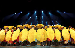 Yellow umbrellas and girls Stock Photography