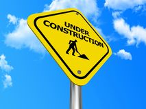 Yellow under construction sign Stock Image